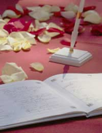 Wedding guestbook guests signing